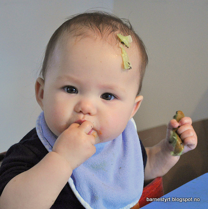 BLW-baby with kiwi on head