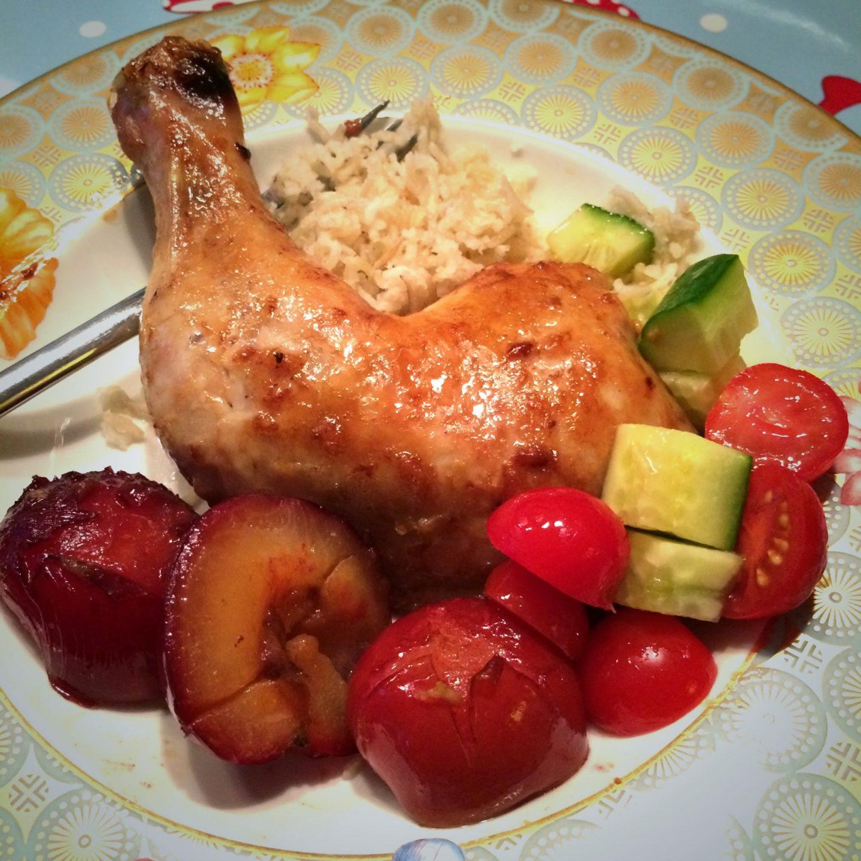 Oppskrift :: Kyllinglår med plommer, ingefær og hvitløk